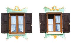 Det forntida unika fönstret. Oberammergau Arkivfoton