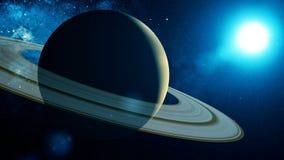 Det främmande rymdskeppet flyger förbi Saturn vektor illustrationer