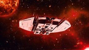 Det främmande rymdskeppet i flyg för djupt utrymme, uforymdskeppi universumet med planeten och stjärnor i bakgrund, den nedersta  royaltyfri illustrationer