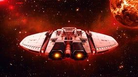 Det främmande rymdskeppet i flyg för djupt utrymme, uforymdskeppi universumet med planeten och stjärnor i bakgrunden, baksidasikt stock illustrationer