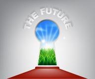 Det framtida nyckelhålbegreppet royaltyfri illustrationer