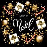 Det franska för den Joyeux Noel för glad jul kortet hälsningen med gåvor, kan vektor illustrationer