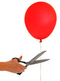 Det fria avbrottet - klipp ballongfrihet, släpper metaforen royaltyfria foton