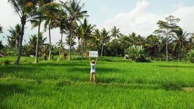 Det fria för ung kvinna med whiteboard- och handskriftordet som är tropiskt på det Surr som flyger längd i fot räknat Grönt ljust royaltyfri fotografi