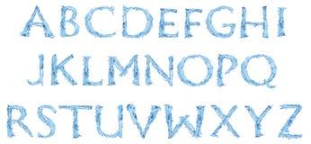 det fryste alfabetet gjorde vatten Arkivbilder