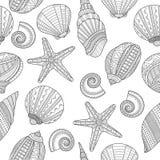 det fästande ihop isolerade banahavet shells white Svartvit sömlös modell för färgläggningbok, Royaltyfria Bilder