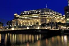 Det Fullerton hotellet i aftonen, Singapore Fotografering för Bildbyråer