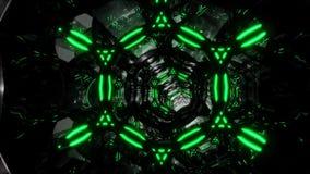 Det futuristiska digitala abstrakta rörelsebakgrundsflyget till och med en abstrakt ändlös tunnel av svart-gräsplan ringer Kretsa vektor illustrationer