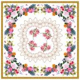 Det fyrkantiga bandanatrycket med den lyxiga blom- prydnaden som stiliseras snör åt och den guld- ramen på vit bakgrund i folk st vektor illustrationer