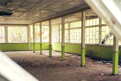 Det gamla brutna övergav trärummet med stora fönster i skogen Royaltyfri Foto