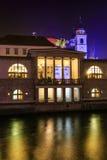 Det gamla centret av Ljubljana dekorerade för jul Royaltyfri Fotografi