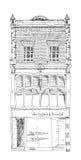 Det gamla engelska radhuset med litet shoppar eller affären på bottenvåning Kvalitetsgata, London skissa Royaltyfri Bild