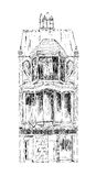 Det gamla engelska radhuset med litet shoppar eller affären på bottenvåning Kvalitetsgata London Skissa samlingen Arkivbild