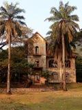 Det gamla huset i den djungelamonten gömma i handflatan royaltyfria bilder