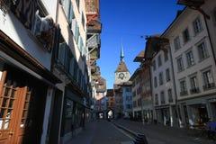 Det gamla klockatornet i Aarau, Schweiz Fotografering för Bildbyråer