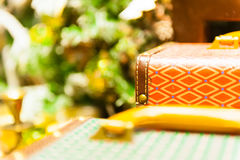 Det gamla resväskalåset med en modellcloseup sköt grunt djup av fältet Royaltyfria Foton
