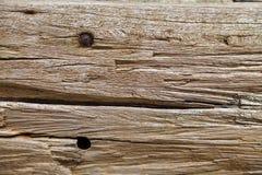 Det gamla träbrädet med rostigt spikar hål royaltyfri fotografi