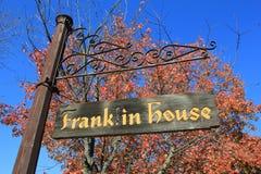 det gammala franklin huset shoppar royaltyfria bilder