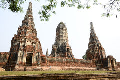 Det gammala tempelet av den gammala huvudstaden av thailand Arkivfoto
