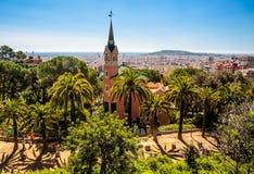 Det Gaudi huset, parkerar Guell, Barcelona Royaltyfri Bild