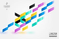 Det geometriska moderiktiga illustrationbakgrund, plakatet, lägenheten och 3d planlägger beståndsdelar Retro konst för räkningar, Royaltyfria Bilder