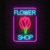 Det glödande neontecknet av blom- shoppar i rektangelram Design av skylten för blommalager med tulpan stock illustrationer