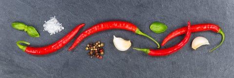 Det glödheta banret för ingredienser för matlagning för chili för chilipeppar kritiserar lodisar arkivbilder