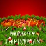 Det glada julhälsningskortet med gåvan boxas Arkivfoto