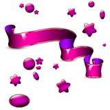 Det glansiga rosa bandet och uppsättningen av mallen formar Royaltyfri Foto