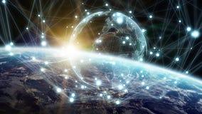 Det globala nätverket och datautbyten över planetjorden 3D sliter Arkivfoto