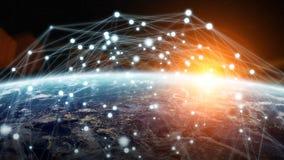 Det globala nätverket och datautbyten över planetjorden 3D sliter Arkivbild