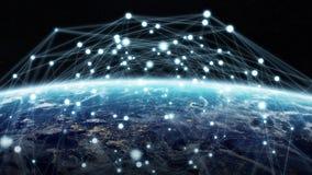 Det globala nätverket och datautbyten över planetjorden 3D sliter Arkivbilder