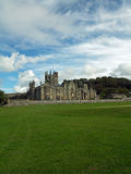 Det gräs- landskapet och slotten Royaltyfria Bilder