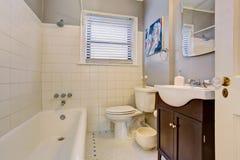 Det gråa antika eleganta badrummet med vit badar och kabinettet för mörk brunt royaltyfria bilder