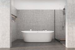 Det gråa badrummet med en vit badar Royaltyfri Fotografi