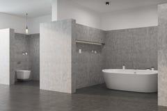 Det gråa badrummet med en vit badar, toaletten Arkivbilder