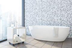 Det gråa tegelplattabadrumhörnet, vit badar Arkivfoton