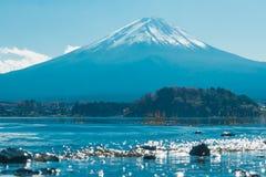 det gröna ängberg mt sörjer mer ranier snowtrees Fuji på kawaguchikosjön i Japan med blått fördunklar himmel, processtappningsign Royaltyfria Bilder