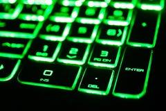 det gröna fluorescerande datortangentbordet Royaltyfri Bild