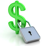 Det gröna metalliska dollarsymbolet stängde sig på wh Fotografering för Bildbyråer