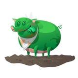 Det gröna som undergår mutation svinet har lunch vektor illustrationer