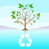 Det gröna trädet återanvänder plana moln för blå himmel för ecosymbolen Arkivbild