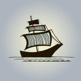 Det grafiska skeppet med randigt seglar Vektor Illustrationer