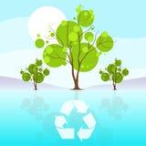 Det gröna trädet återanvänder plana moln för blå himmel för ecosymbolen Arkivfoton
