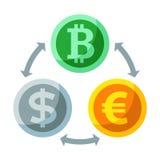 Det grundläggande RGBCurrency och cryptocurrencyutbytet sänker symbolen, guld- bi Arkivfoton