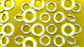 Det gula badet ringer på gul bakgrund lager videofilmer