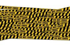 Det gula bandet med polislinjen korsar inte text stock illustrationer