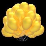 Det gula partiet sväller färgrikt och skinande födelsedagheliumballong Royaltyfria Foton