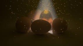 Det guld- ägget med mousserar Royaltyfri Bild