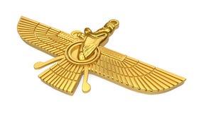 Det guld- Faravahar symbolet isolerade vektor illustrationer